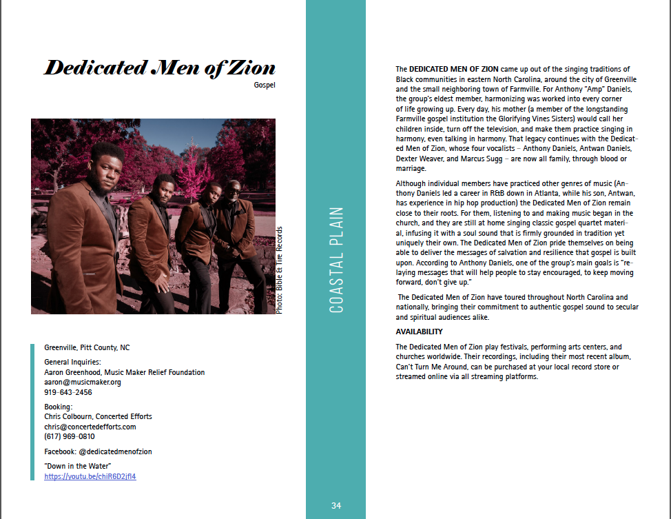 Artist profile for the Dedicated Men of Zion (download file for full text)